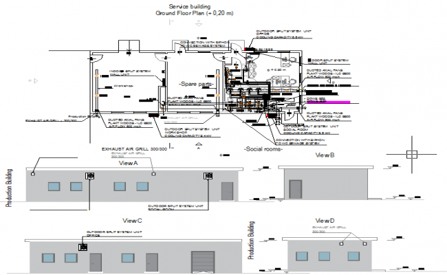 feedmill factory service building dwg file
