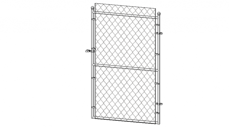 Fence gate front view cad drawing dwg file