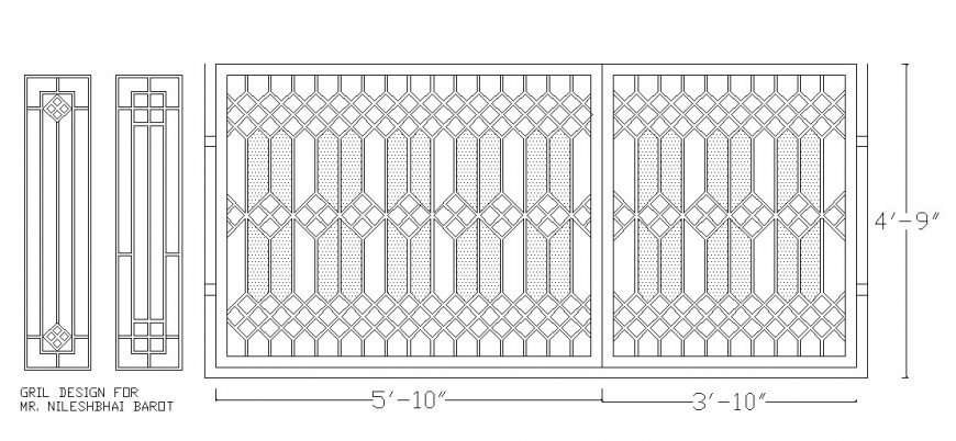 Fence or railing elevation block cad drawing details dwg file