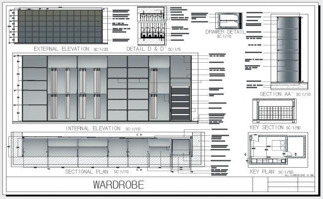 Wardrobe Plan Elevation Section : Wardrobe design