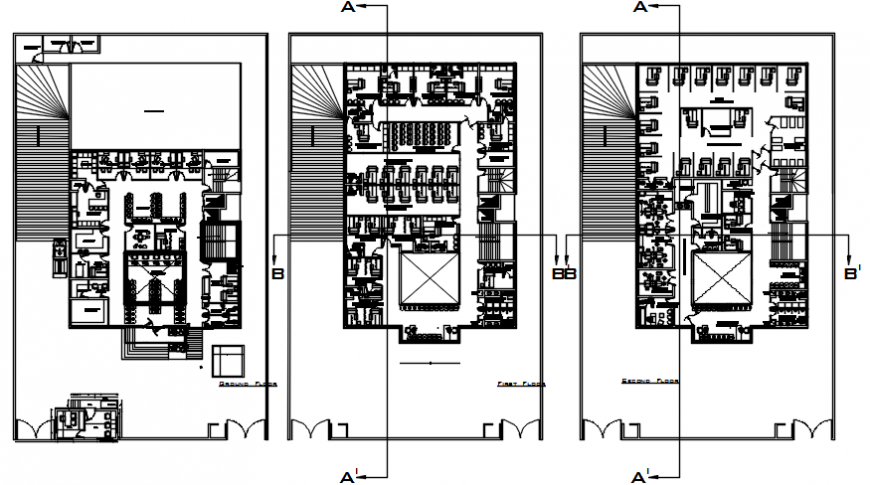 Fifth, sixth and seventh floor layout plan drawing details of general hospital dwg file