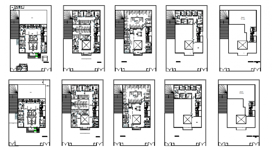Fifth flooring residential apartment building floor plan layout details dwg file