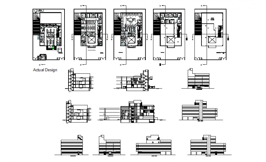 Fifth flooring residential housing building all sided elevation, section and floor plan details dwg file