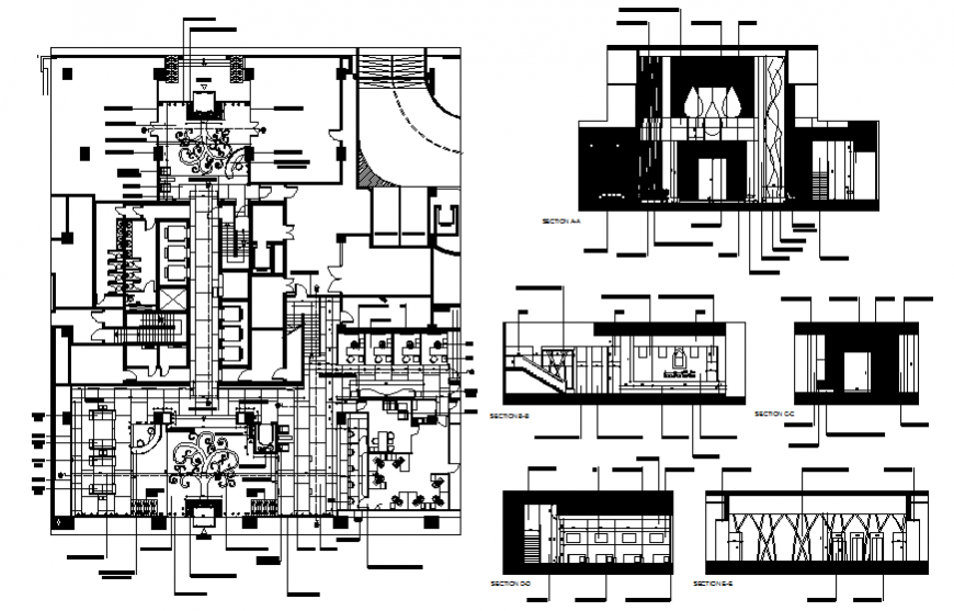 Finance house furniture layout plan drawing in dwg file.