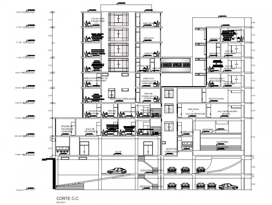 Financial center multi-level office building main section drawing details dwg file