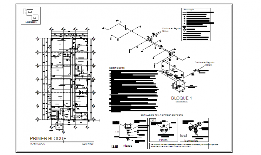 Fire fight System installation design in hospital design drawing