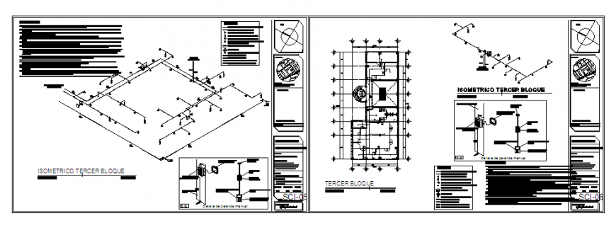 fire installation Isometric drawing of terrace floor in hospital design drawing
