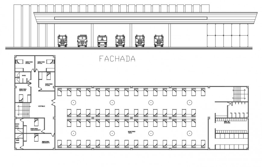 Fire station plan and elevation in auto cad file