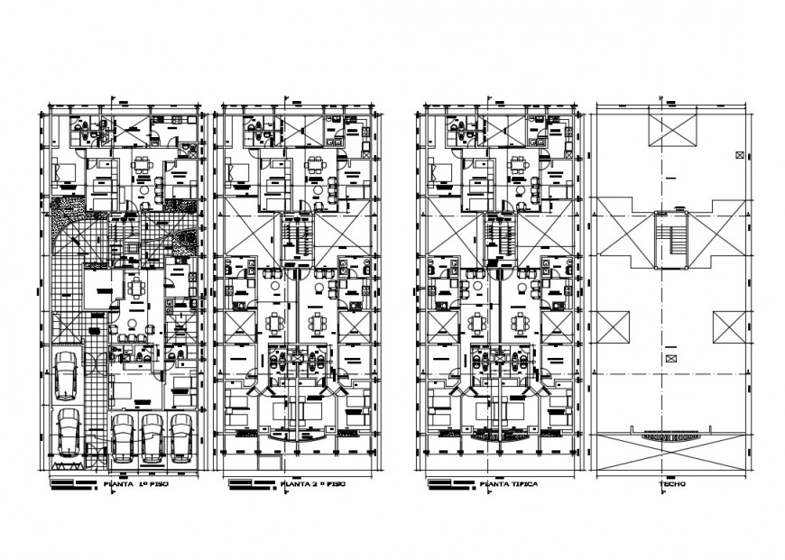 First, second, third and cover plan details of multi-family residential building dwg file