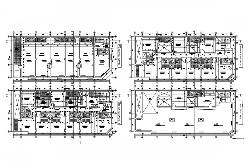 First, second, third and fourth floor sanitary installation details of hotel building dwg file