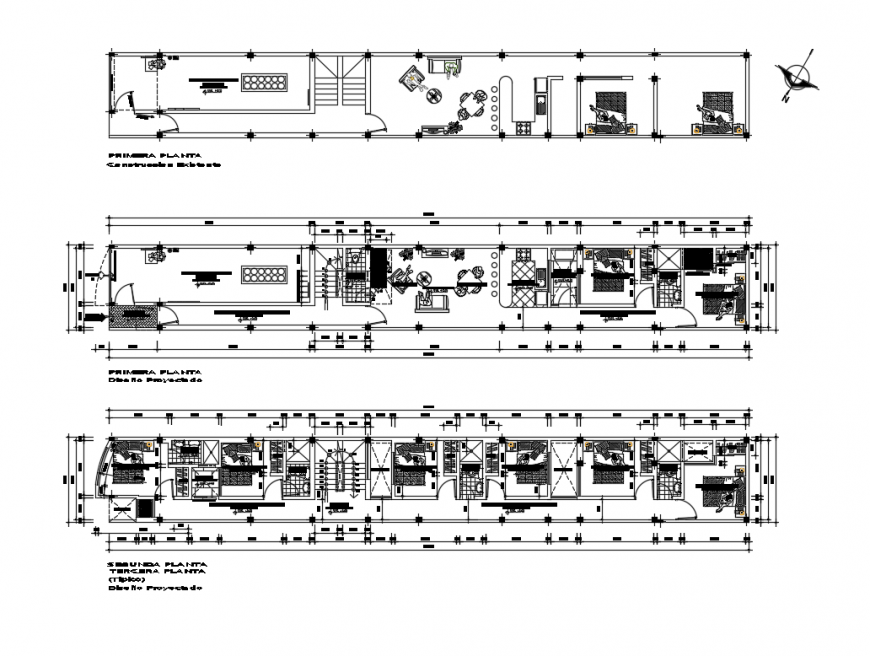 First, second, third and terrace floor plan layout structure details of hosing apartment building dwg file