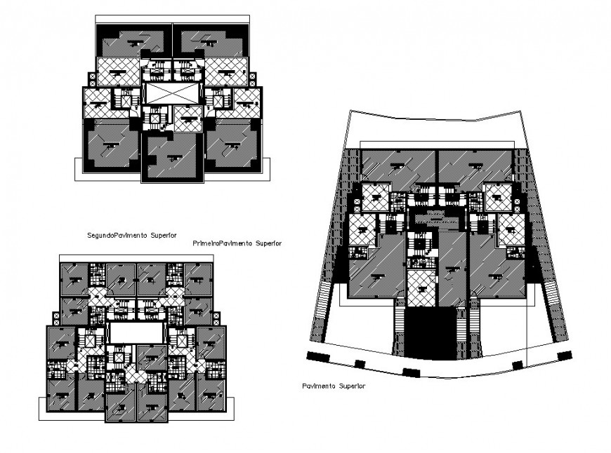 First, second and distribution layout plan details of residential house dwg file
