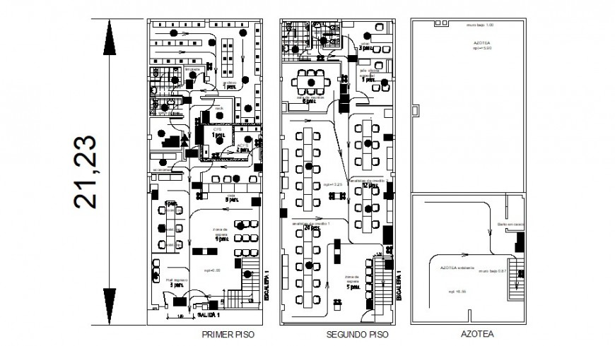 First, second and terrace cover plan drawing details of office dwg file