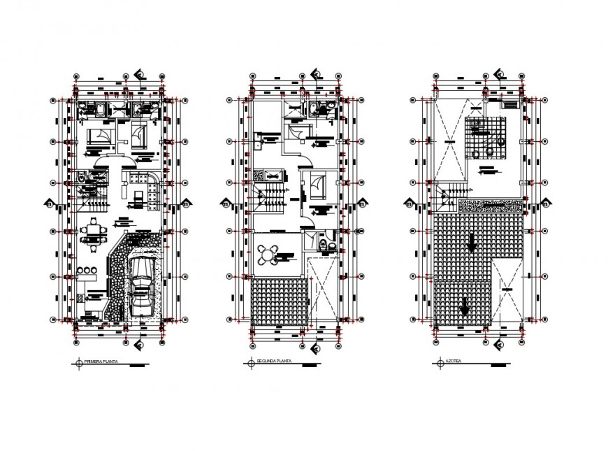 First, second and terrace floor plan details of house dwg file