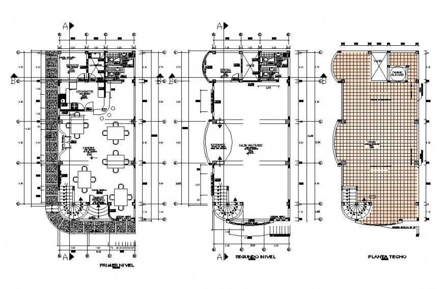First, second and terrace floor plan details of local hotel building dwg file