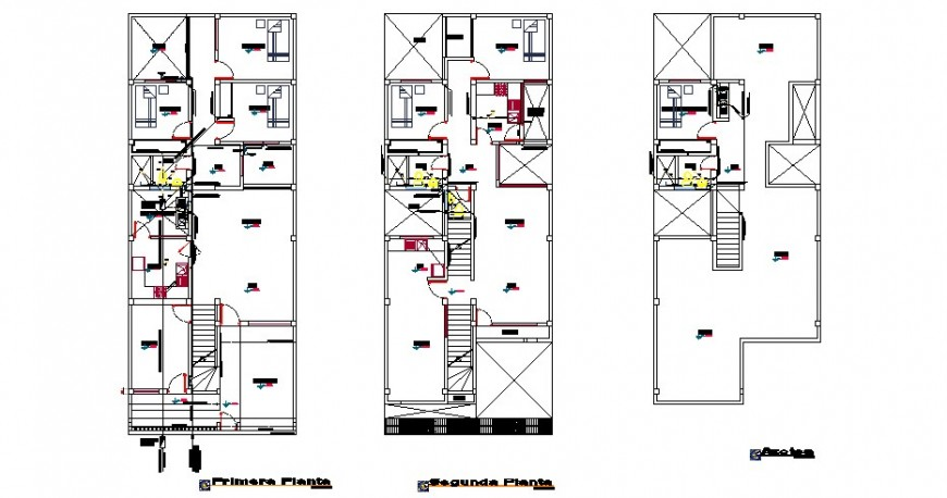 First, second and terrace floor plan details of single family house dwg file