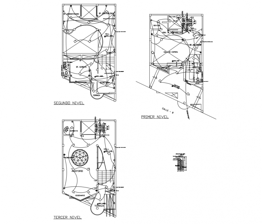 First, second and terrace floor plan details with sanitary installation of apartment building dwg file