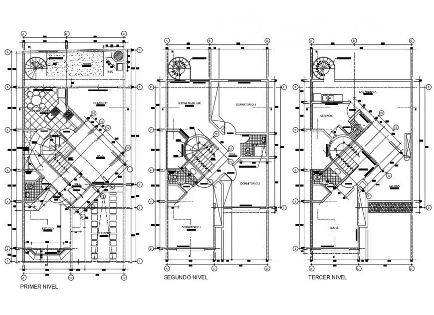 First, second and terrace plan details of three level house dwg file
