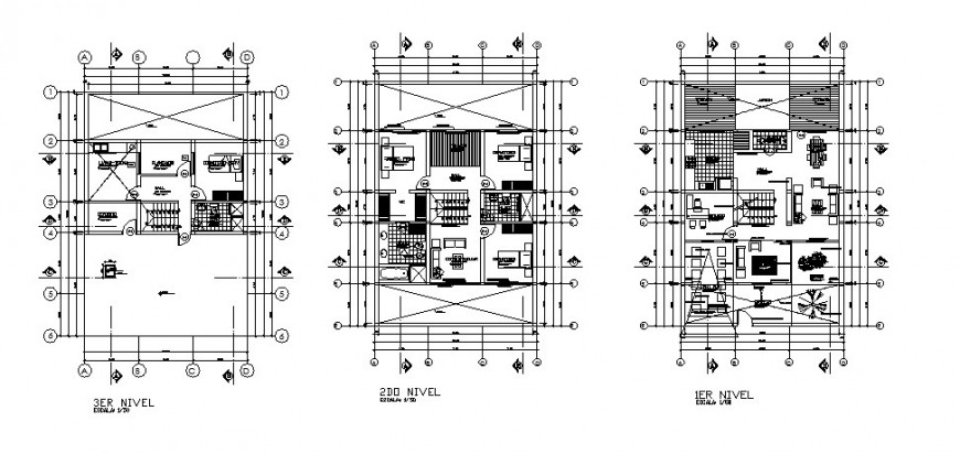 First, second and third floor plan details of one family house dwg file