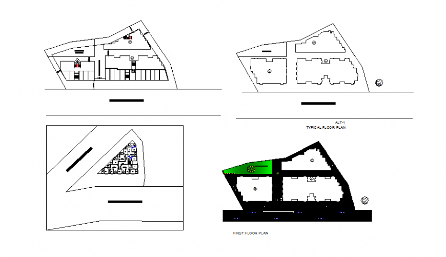 First, second and typical floor plan details of office building dwg file