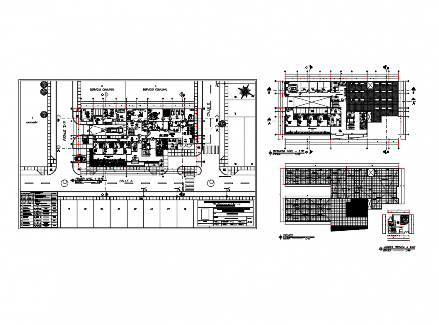 First, second floor and foundation plan details of municipal hospital dwg file