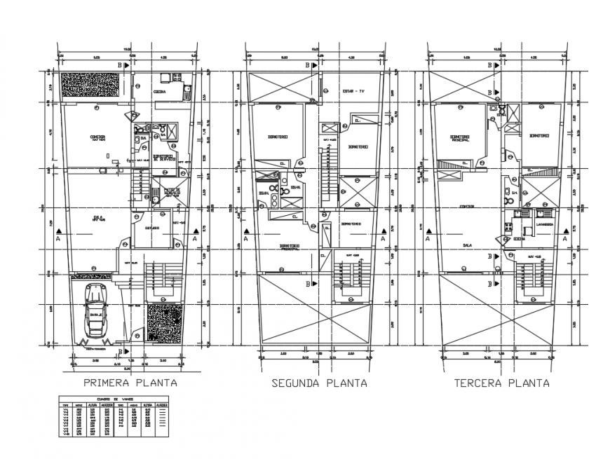First, second floor plan layout details with terrace cad drawing details dwg file