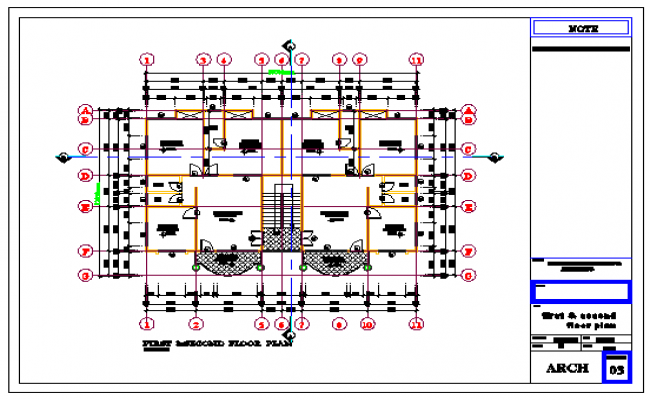 first & second floor layout design drawing of residential building design drawing
