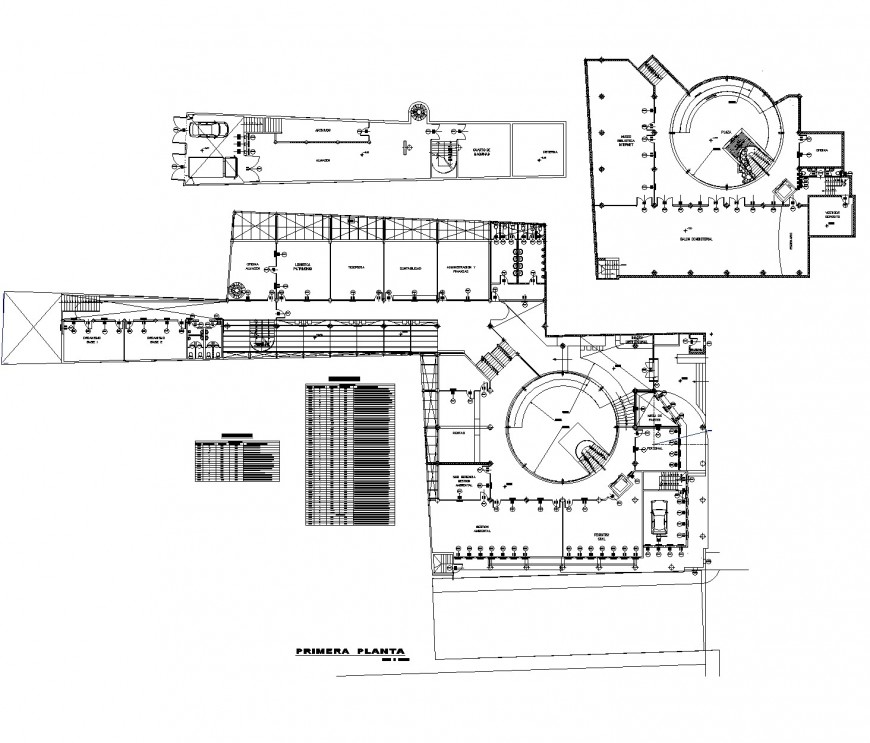 First-floor commercial building plan autocad file