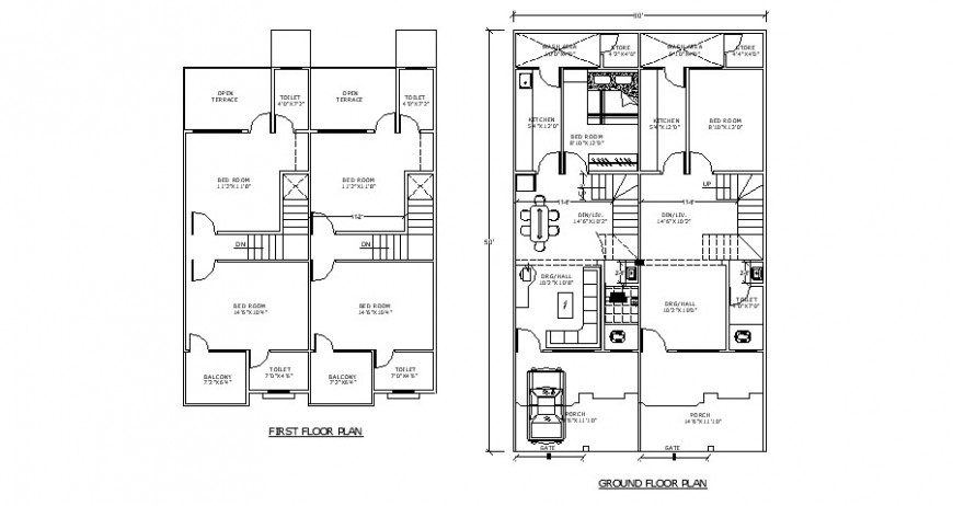 First and ground floor plan drawing details of residential house dwg file