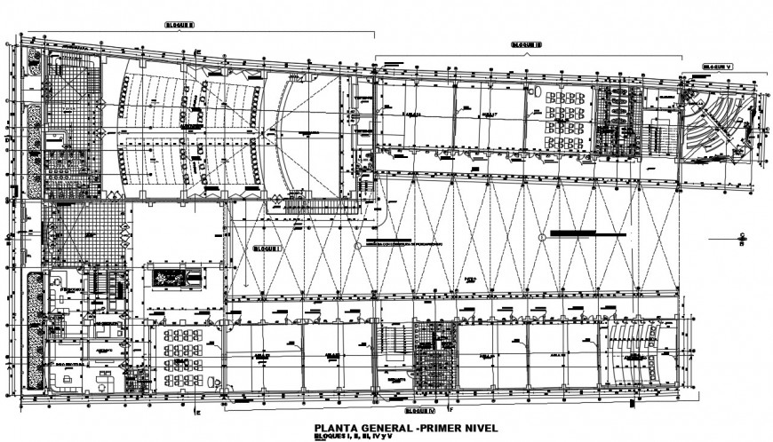 First and second floor distribution plan details of college building dwg file