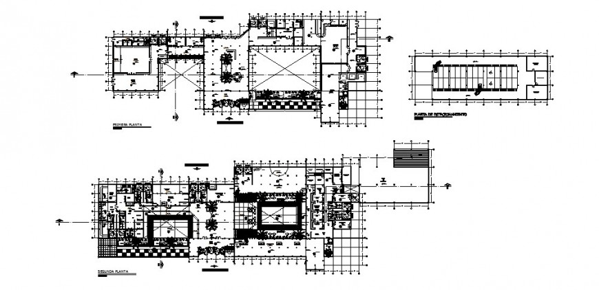 First and second floor distribution plan details of luxuries hotel building dwg file