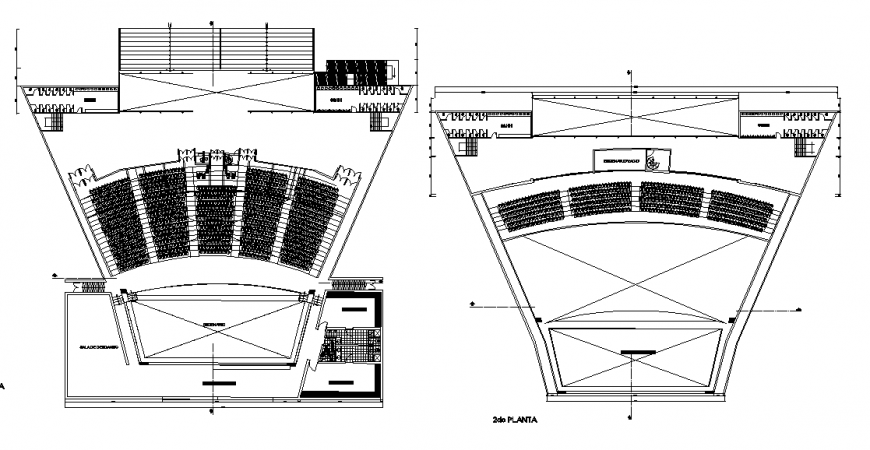 First and second floor distribution plan drawing details of theater of peru dwg file