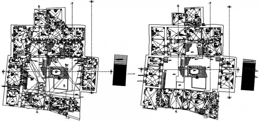 First and second floor layout plan details of apartment building dwg file