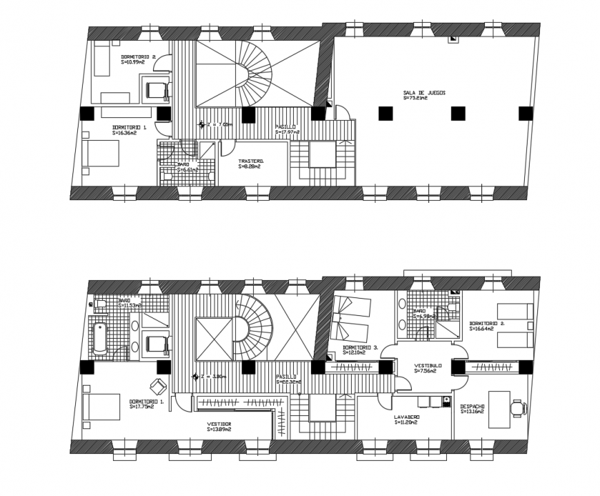 First and second floor layout plan details of cottage house dwg file
