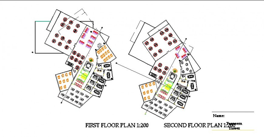 First and second floor layout plan details of government building dwg file