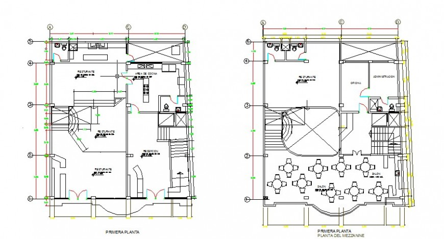 First and second floor layout plan details of hotel building dwg file
