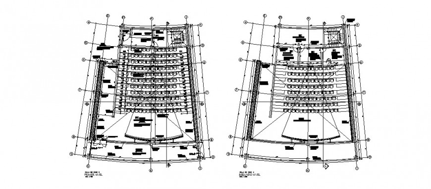 First and second floor layout plan details of multiplex theater dwg file