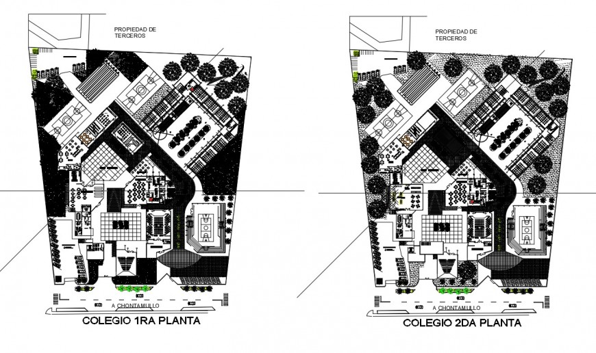 First and second floor layout plan details of secondary school building dwg file