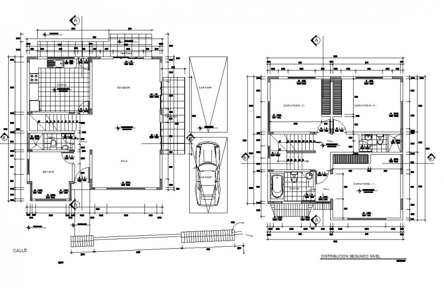 First and second floor layout plan of two story residential house dwg file