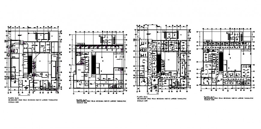 First and second floor plan and electric installation plan of hospital building dwg file