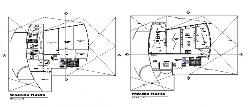 First and second floor plan details of modern art museum cad drawing details dwg file