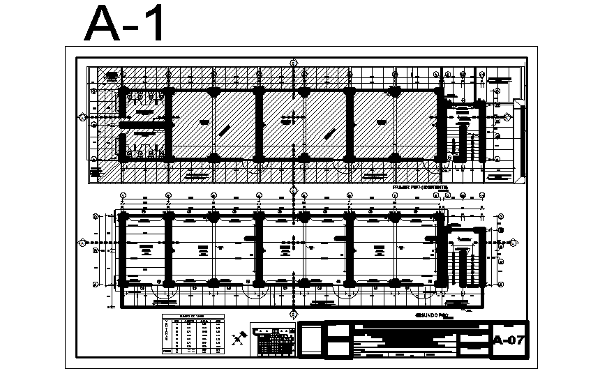 First and second floor plan details of primary school dwg file