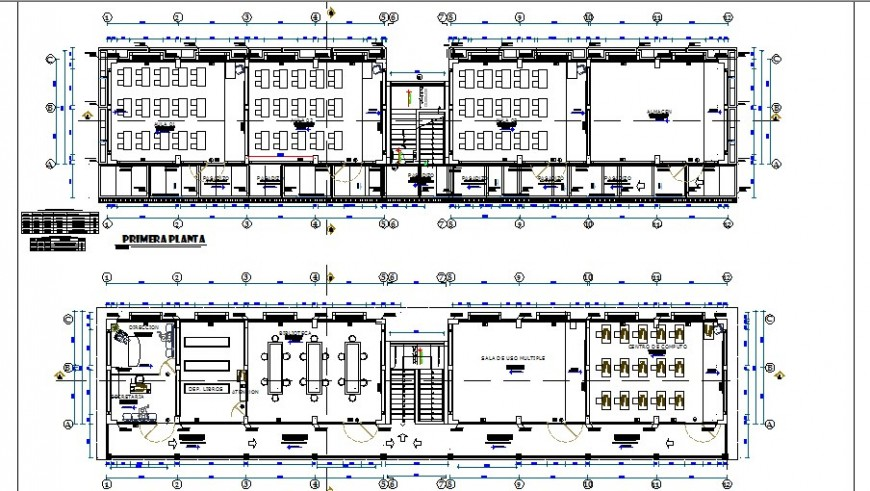 First and second floor plan details of school with furniture cad drawing details dwg file