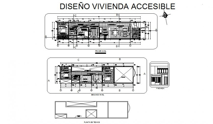First and second floor plan details with furniture cad drawing details dwg file