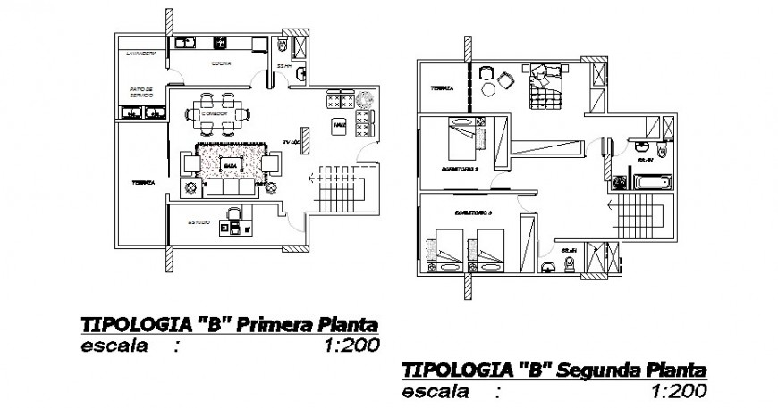 First and second floor plan distribution of house cad drawing details dwg file