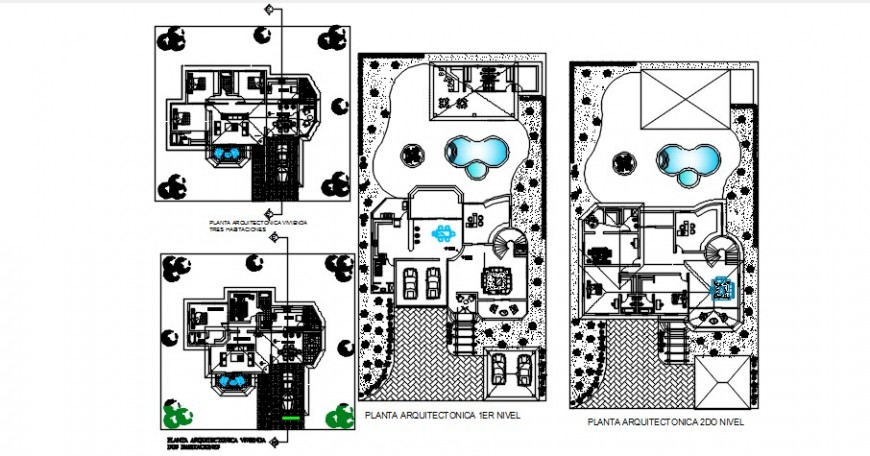 First and second floor plan for sub-divisions houses dwg file