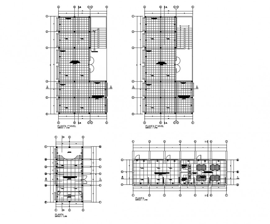 First and second floor plan layout details of school with library cad drawing details dwg file