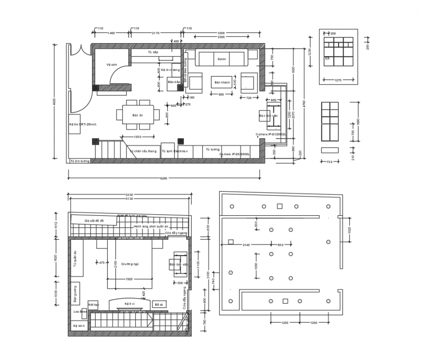 First and second floor plan of hose interior design dwg file