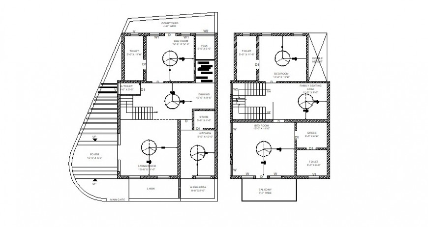 First and second floor plan of house in AutoCAD file