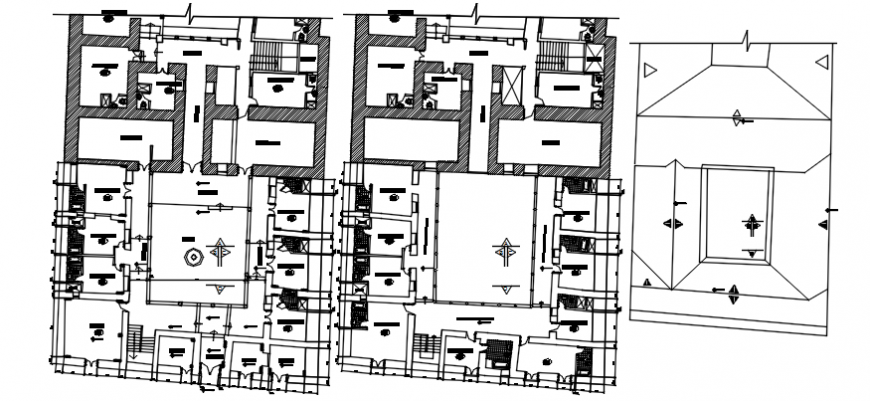 First and second floor plan with ceiling of hotel in AutoCAD file